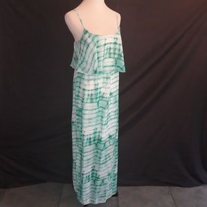 Renee C teal green tie dye maxi dress Medium